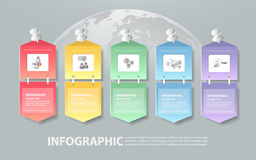 Design infographic template 5 steps for business concept. Vector illustration Stock Image