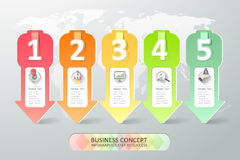 Design infographics 5 Schritte Auch im corel abgehobenen Betrag Lizenzfreie Stockfotografie