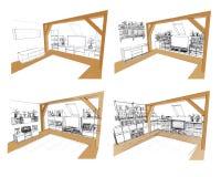 Design of interior. Design sketch of living room interior Stock Image