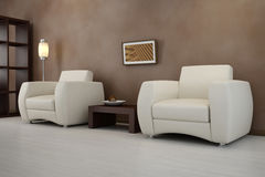 Design interior. Armchair in modern room royalty free illustration