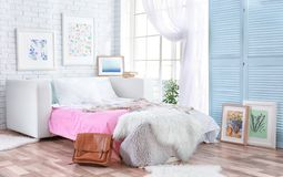 Design interior of teenage room. Design interior of teenage girl room Royalty Free Stock Images
