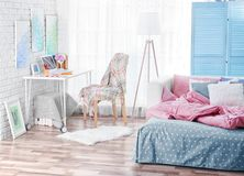 Design interior of teenage room. Design interior of teenage girl room Royalty Free Stock Photos