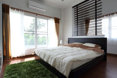 Design of interior white bedroom Royalty Free Stock Image