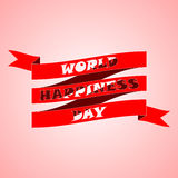 Design for International Day of Happiness, 20 madrch. Text on red ribbon made in style of cut letters. Royalty Free Stock Image