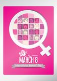 Design about International Women`s Day with silhouettes of women`s faces inside the symbol of woman, with a rose on the title. On a pink background. Vector royalty free illustration