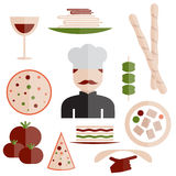 design italian cuisine elements and chef Royalty Free Stock Photography
