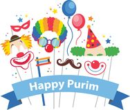 Design for Jewish holiday Purim with masks and traditional props Stock Photo