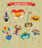 Design for Jewish holiday Purim with masks and. Design for Jewish holiday  Purim with masks and traditional props. Vector illustration Royalty Free Stock Photos