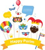 Design for Jewish holiday Purim with masks and royalty free illustration