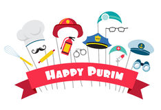 Design for Jewish holiday Purim with masks and traditional props. Vector illustration Stock Photos