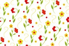 Design Khokhloma, floral pattern seamless pattern. With red berries and flowers Royalty Free Stock Image
