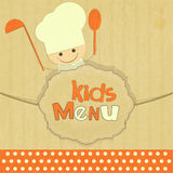 Design of kids menu with smiling chefs Stock Images