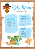 Design for kids menu. Vector cartoon style design for kids menu with cute character animal-bear in pirate costume, treasure map and island. Children menu meal stock illustration