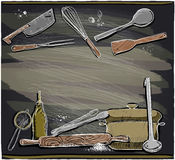 Design with kitchen utensils on a chalkboard. Royalty Free Stock Photo