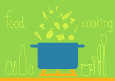 Design of kitchenware on green backgrounds, illustrations Royalty Free Stock Images