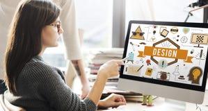 Design-kreative Ideen vorbildliches Planning Sketch Concept Lizenzfreie Stockfotos