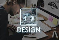 Design-kreative Ideen vorbildliches Sketch Draft Concept Lizenzfreie Stockfotos