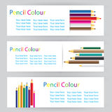 Design labels with colored pencils with sample text Royalty Free Stock Photography