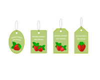 Design Labels with Juicy Ripe Strawberry Stock Photos