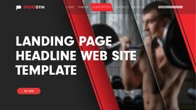 Design landing page for the site with a place for photos and but. Tons. Black-red template header for the web. Vector banner Stock Photos