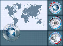 Design layout template, with World Map and earth globe inside sphere of glass Stock Image