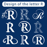 Design of the letter R. Calligraphic elegant line art logo elements. Set Abstract Icon template. Emblem sign for Royalty, business Royalty Free Stock Photography