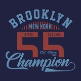 Design letters brooklyn new york champion. Design letters and numbers brooklyn new york champion for t-shirts Stock Photography
