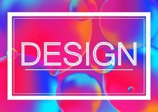 Design letters concept vector illustration on Neon color balls background with white frame. Abstract colorful 3D. Design letters concept vector illustration on Royalty Free Stock Image