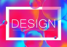 Design letters concept vector illustration on Neon color balls background with white frame. Abstract colorful 3D. Design letters concept vector illustration on Stock Image