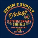Design letters denim supply vintage Stock Image