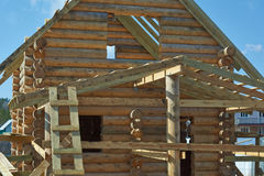 The design of a log home under construction. Stock Image