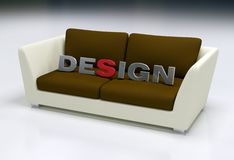 Design logo 2. Design logo on brown and beige sofa - 3d rendering Stock Images