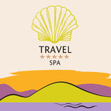 Design logo of cruise travel and spa on color background. Hand d. Rawn silhouettes logotype. Beach vacation in the tropics. Illustration for advertising tourism Royalty Free Stock Photography