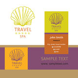 Design logo of cruise travel and spa. Hand drawn silhouettes log Royalty Free Stock Photos