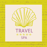 Design logo of cruise travel and spa on wood background. Hand dr. Awn silhouettes logotype. Beach vacation in the tropics. Illustration for advertising tourism Stock Photo