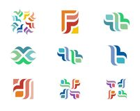 Design Logo. A series of colorful logo designs with repeating floral elements Royalty Free Stock Image
