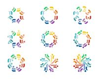 Design Logo. A series of colorful logo designs with repeating floral elements Stock Photo