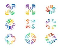 Design Logo. A series of colorful logo designs with repeating floral elements Stock Images