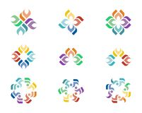 Design Logo. A series of colorful logo designs with repeating floral elements Stock Image