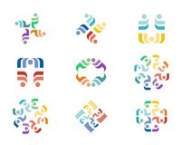 Design Logo. A series of colorful logo designs with repeating floral elements Royalty Free Stock Images