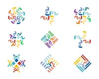 Design Logo. A series of colorful logo designs with repeating floral elements Royalty Free Stock Photography