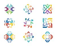 Design Logo. A series of colorful logo designs with repeating floral elements Royalty Free Stock Photo