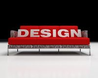 Design logo on sofa. 3d rendering of design logo on red and zebra-fur sofa Stock Image
