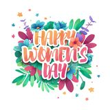 Design logo to the International Happy Women`s Day with flower decoration. Signs, badges, symbol for 8 March on floral Royalty Free Stock Photo