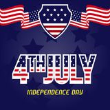 Happy Fourth July Horizontal Banner Royalty Free Stock Photography