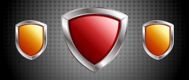 Design made of Three Shields Stock Images
