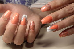 Design of manicure with a picture stock photo
