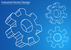 Design and manufacture of gears. Vector Stock Image
