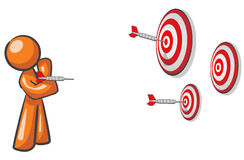Design Mascot Aiming Multiple Targets Stock Images
