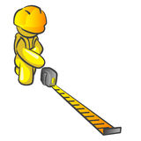 Design Mascot Contractor Two. Man construction worker holding out a tape measure and measuring something on your design stock illustration